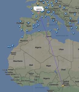 Det aktuelle fly til Bangui i Centralafrika